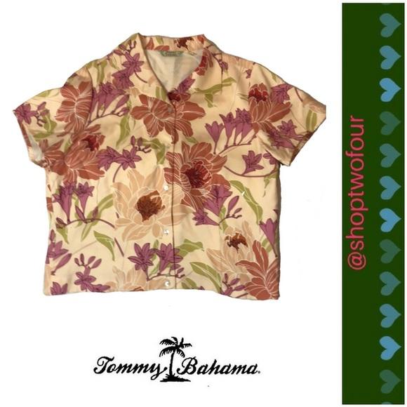 35524e33 Tommy Bahama Tops   Womens Silk Hawaiian Shirt   Poshmark
